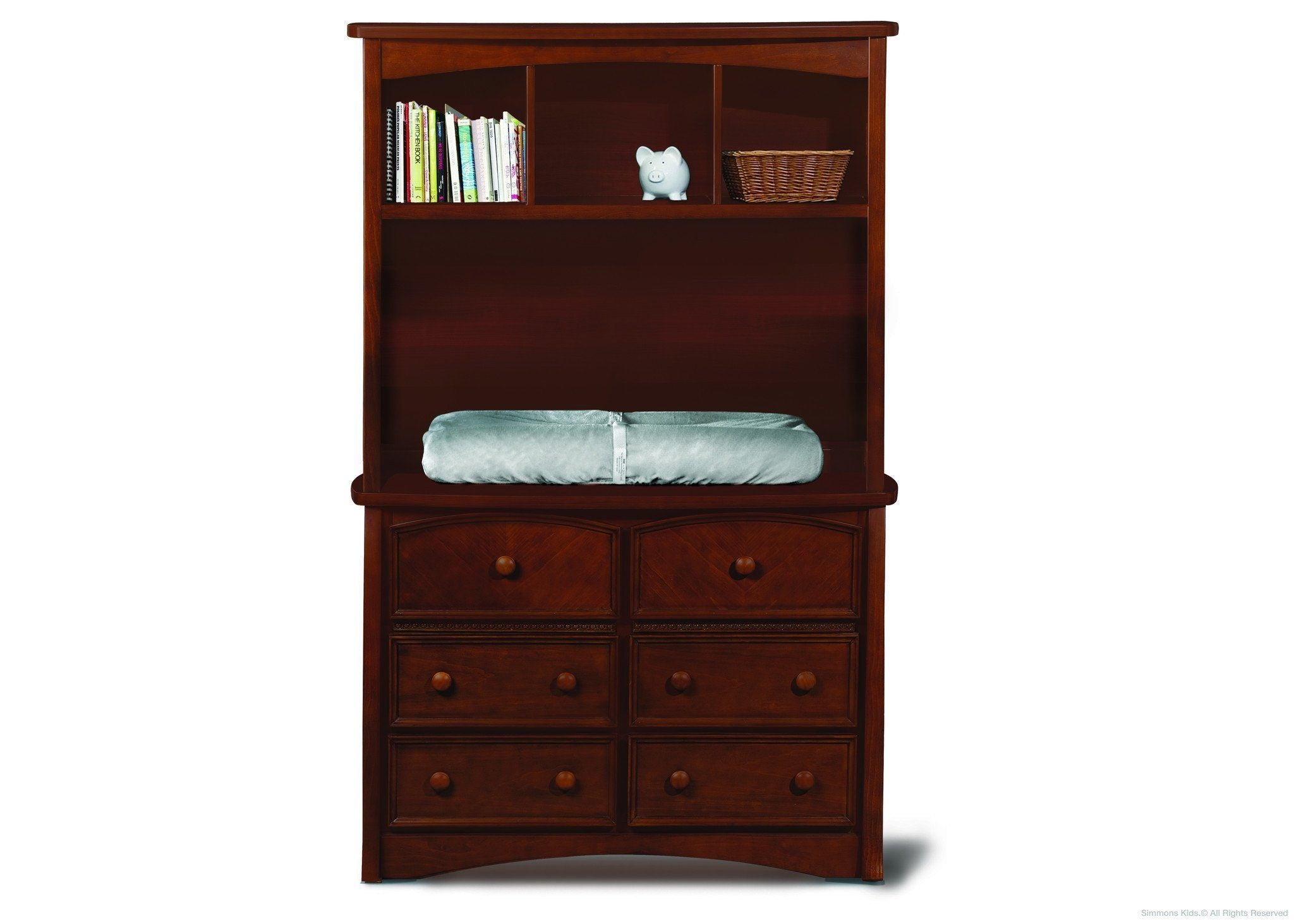 Simmons Kids Espresso Truffle (208) Elite 2-in-1 Hutch/Bookcase, Atop Elite Double Dresser with Props 1 a3a
