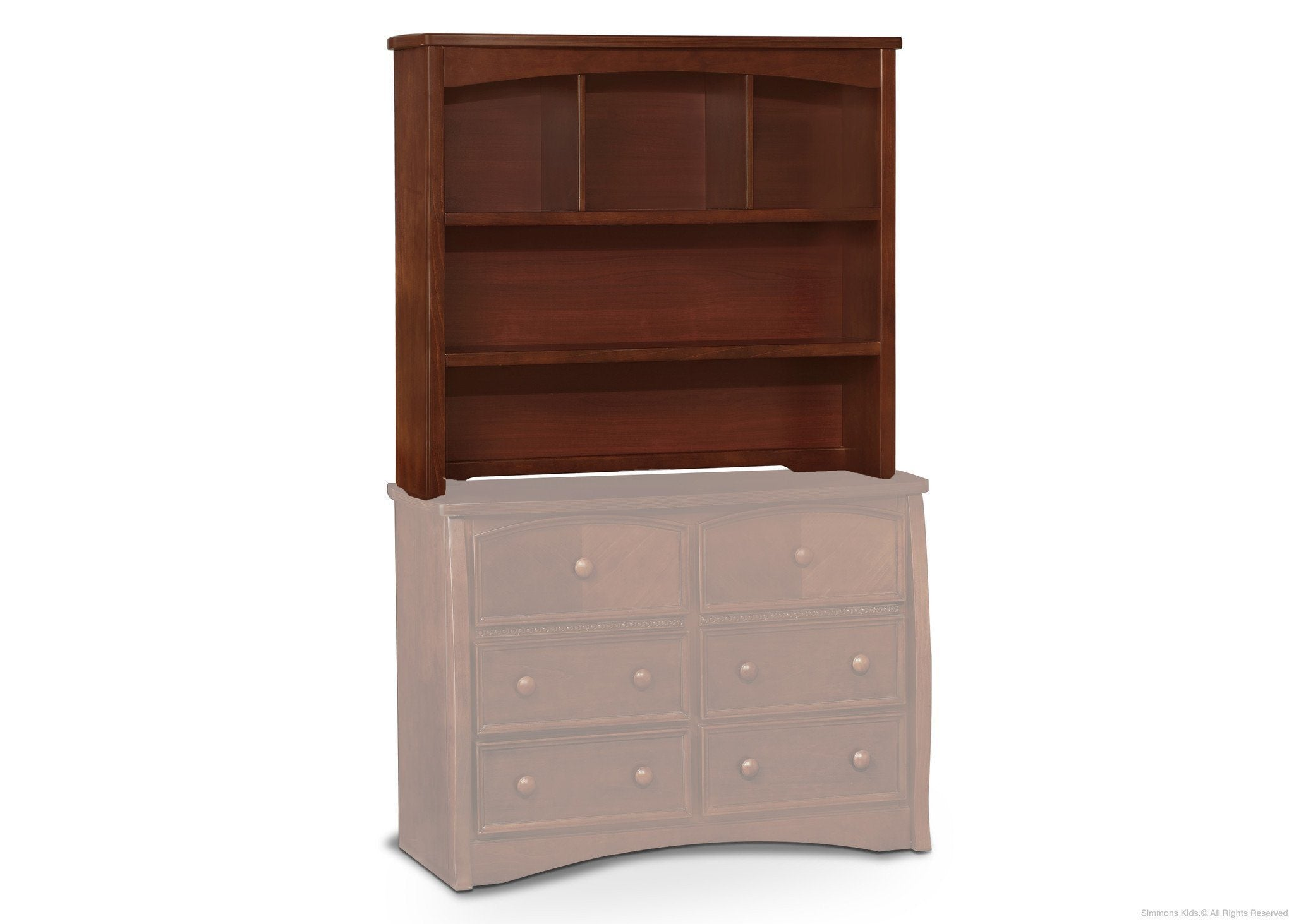 Simmons Kids Espresso Truffle (208) Elite 2-in-1 Hutch/Bookcase, Atop Elite Double Dresser 2 a5a