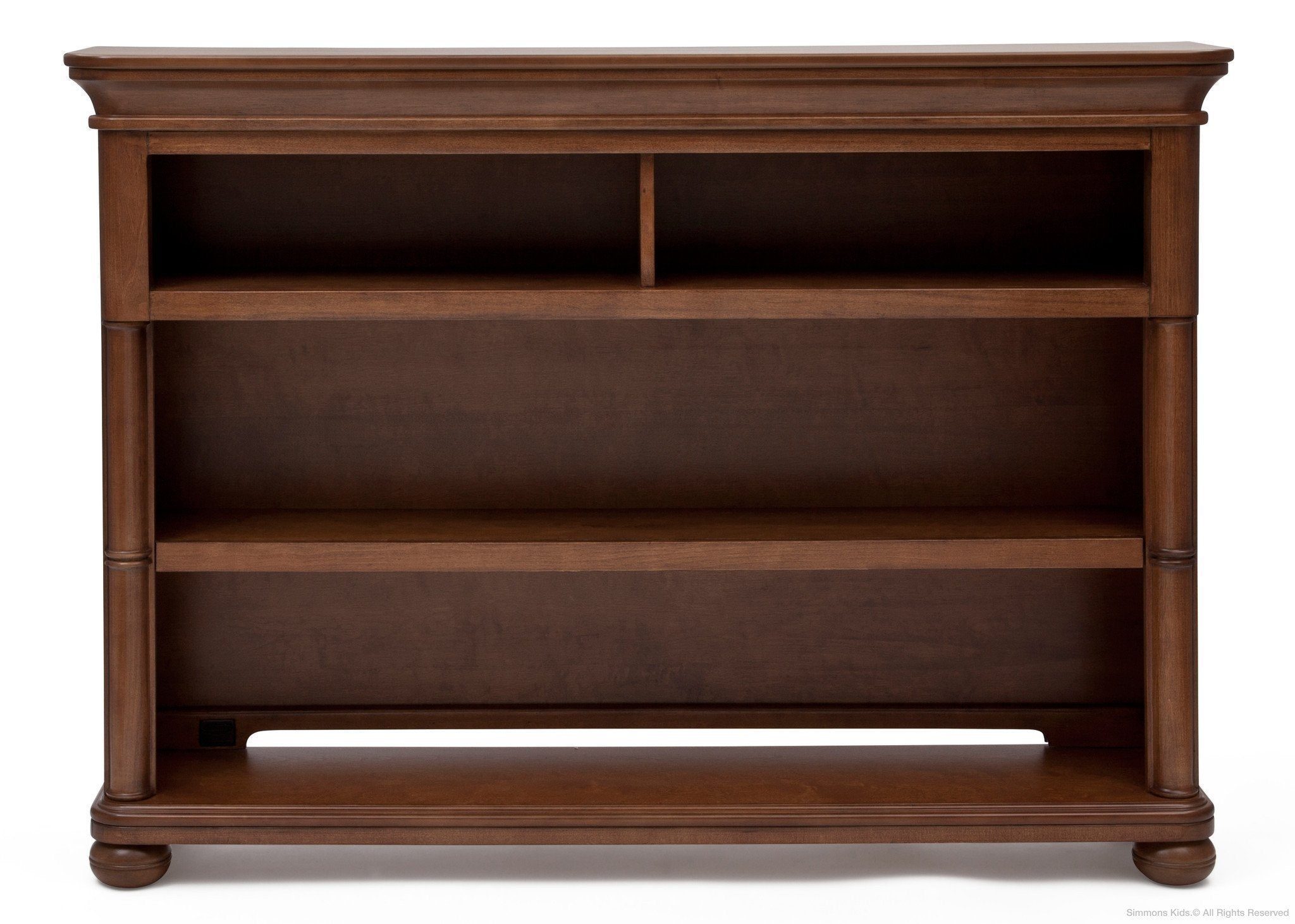 Simmons Kids Chestnut (227) Hanover Park Bookcase & Hutch, Front View atop Base b3b