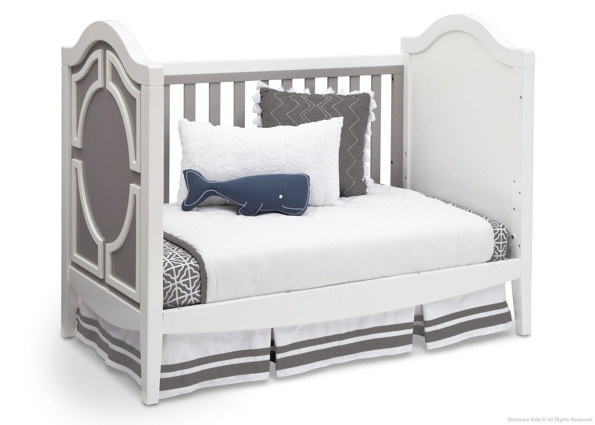 Simmons Kids Antique White/Grey (066) Hollywood 3-in-1 Crib, Day Bed Conversion a5a