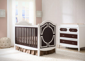 Simmons Kids White/Dark Chocolate (141) Hollywood 3-in-1 Crib, Crib Conversion in Setting b1b