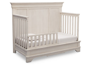 Simmons Kids Antique White (122) Tivoli Crib 'N' More, Angled Conversion to Toddler Bed View, b4b
