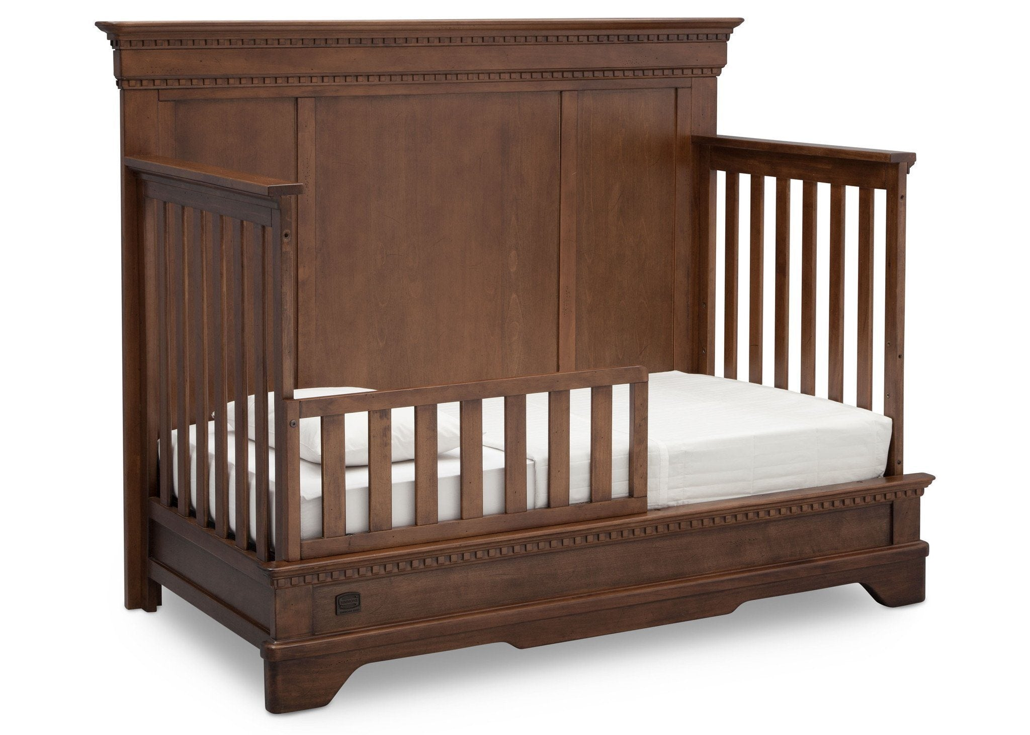 Simmons Kids Antique Chestnut (2100) Tivoli Crib 'N' More, Angled Conversion to Toddler Bed View, a4a
