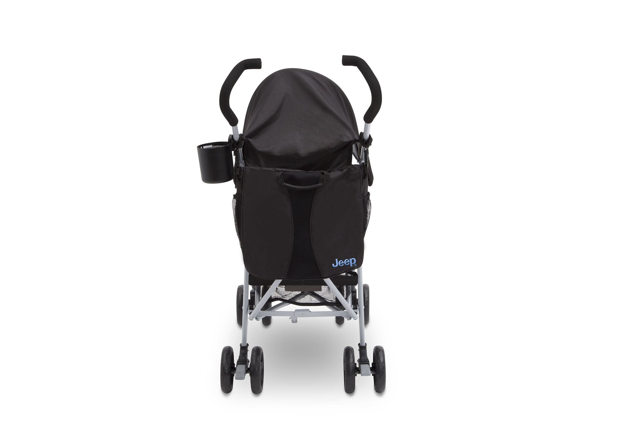 Jeep North Star Stroller by Delta Children, Black with Baby Blue (2279), with Parent cup holder and easy-grip, extra-long foam handles