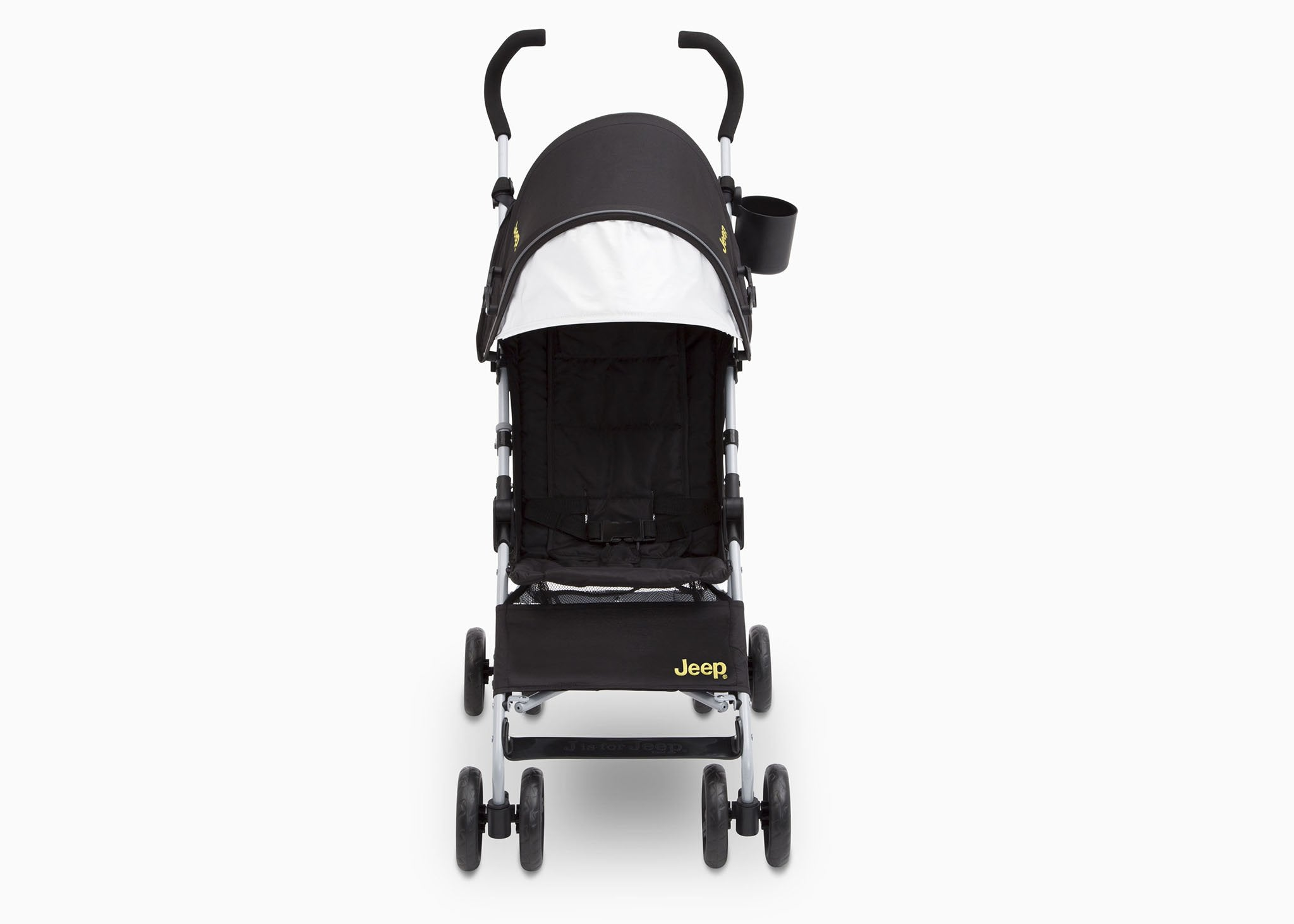 Jeep North Star Stroller by Delta Children, Black with Mellow Yellow (731), with extendable European-style canopy with sun visor