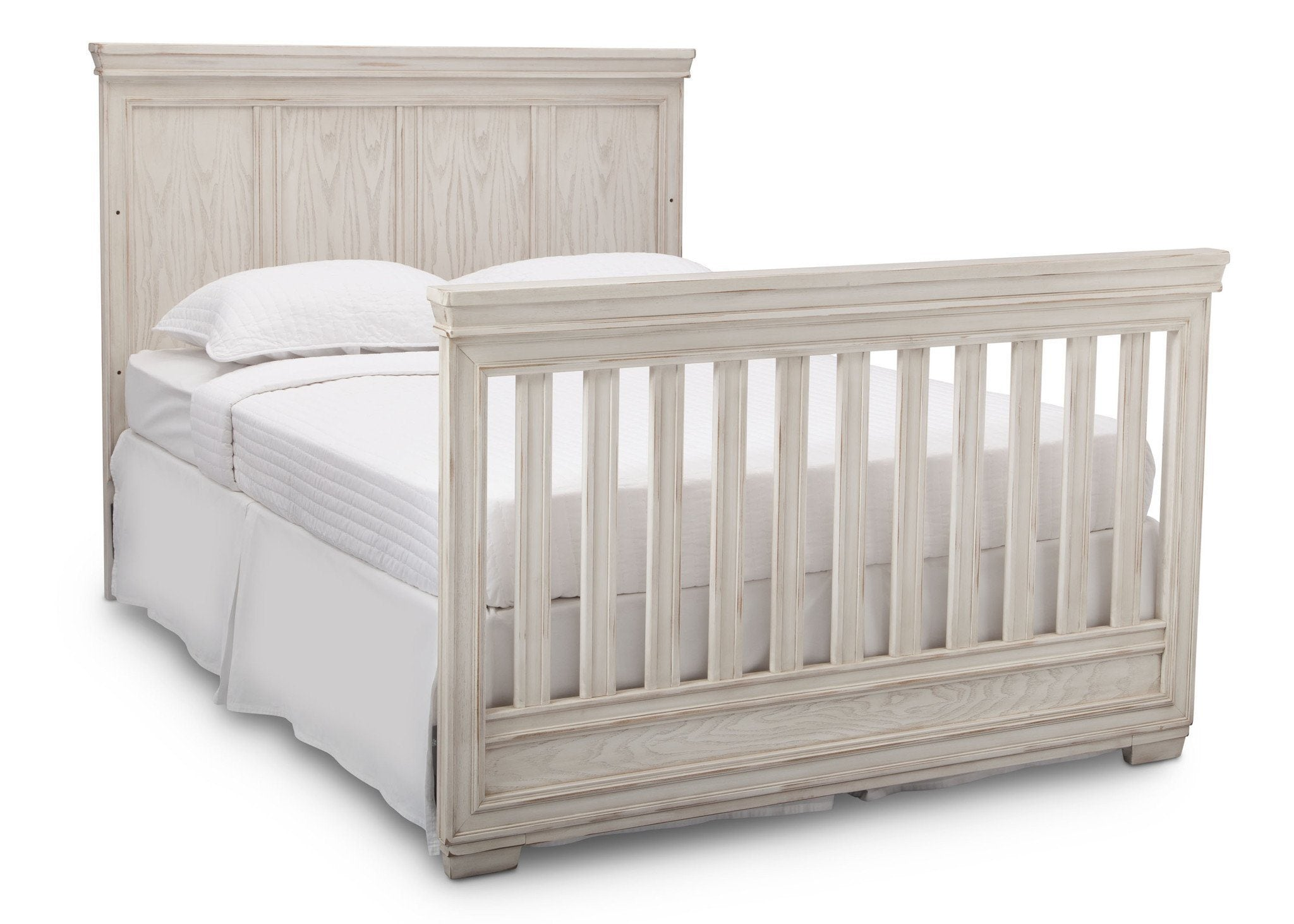 Simmons Kids Antique White (122) Ravello Crib 'N' More, Angled Conversion to Full Size Bed View, b6b
