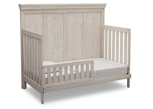 Simmons Kids Antique White (122) Ravello Crib 'N' More, Angled Conversion to Toddler Bed View, b4b