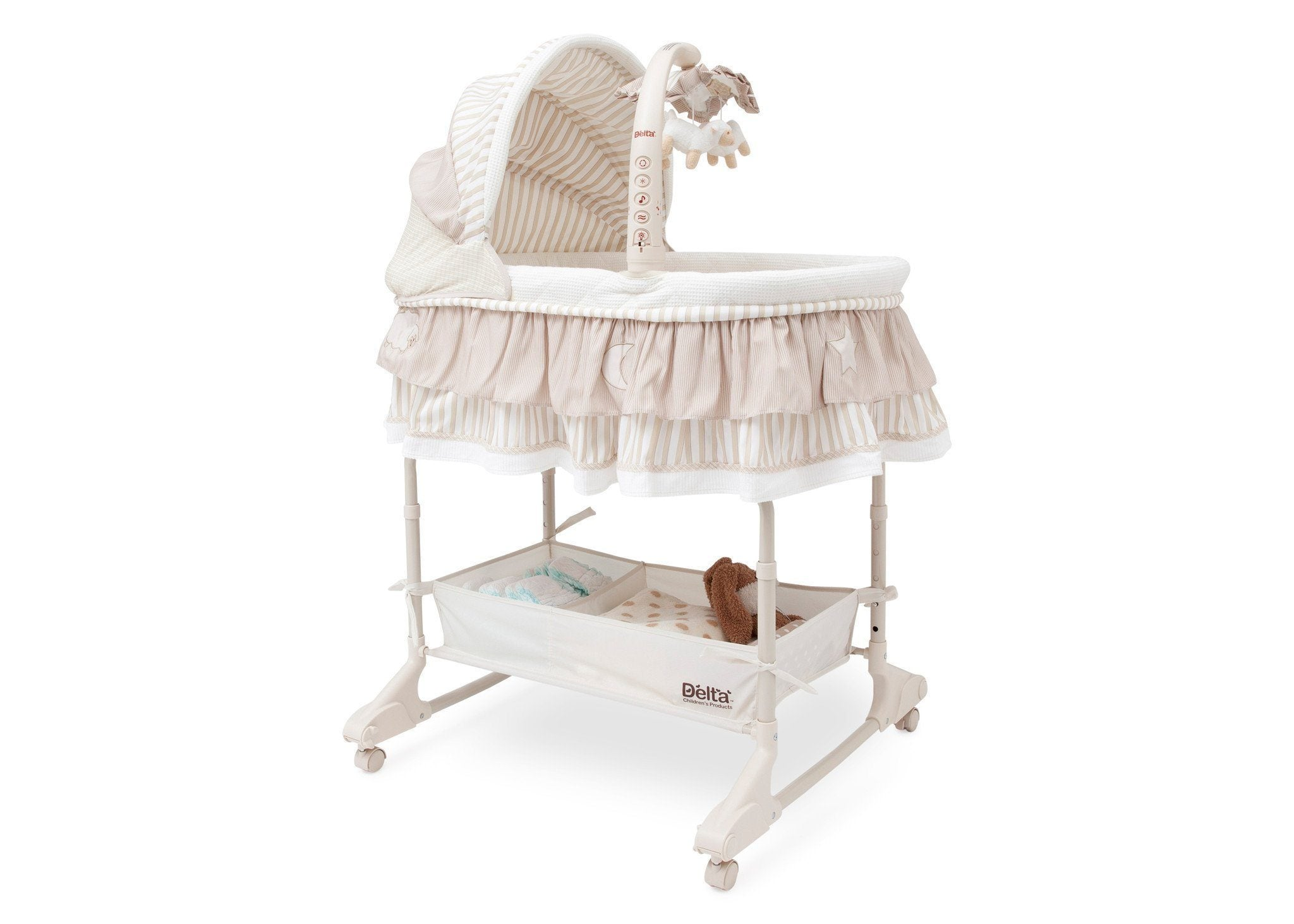 Delta Children Briarwood (272) Rocking Bassinet Side View b1b