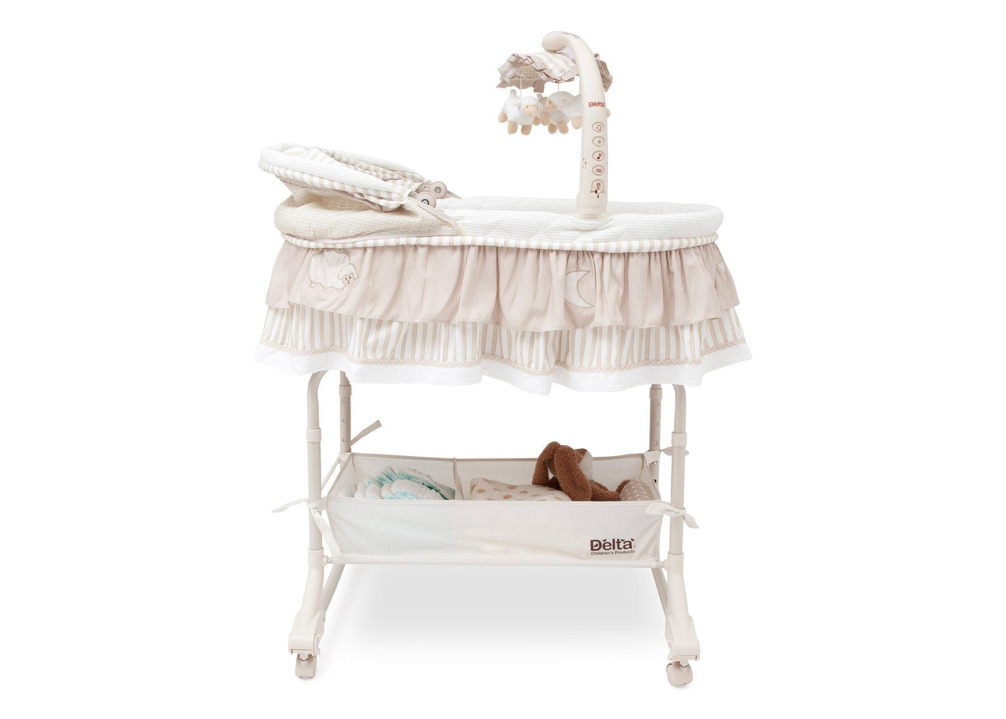 Delta Children Briarwood (272) Rocking Bassinet Full Side View b3b