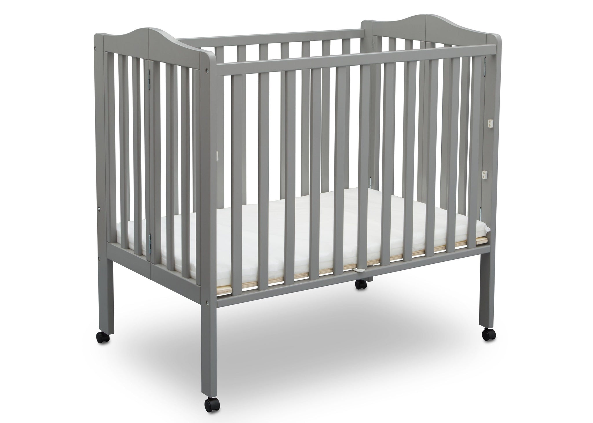 Delta Children Grey (026) Portable Crib, Angle Crib View 1 d4d