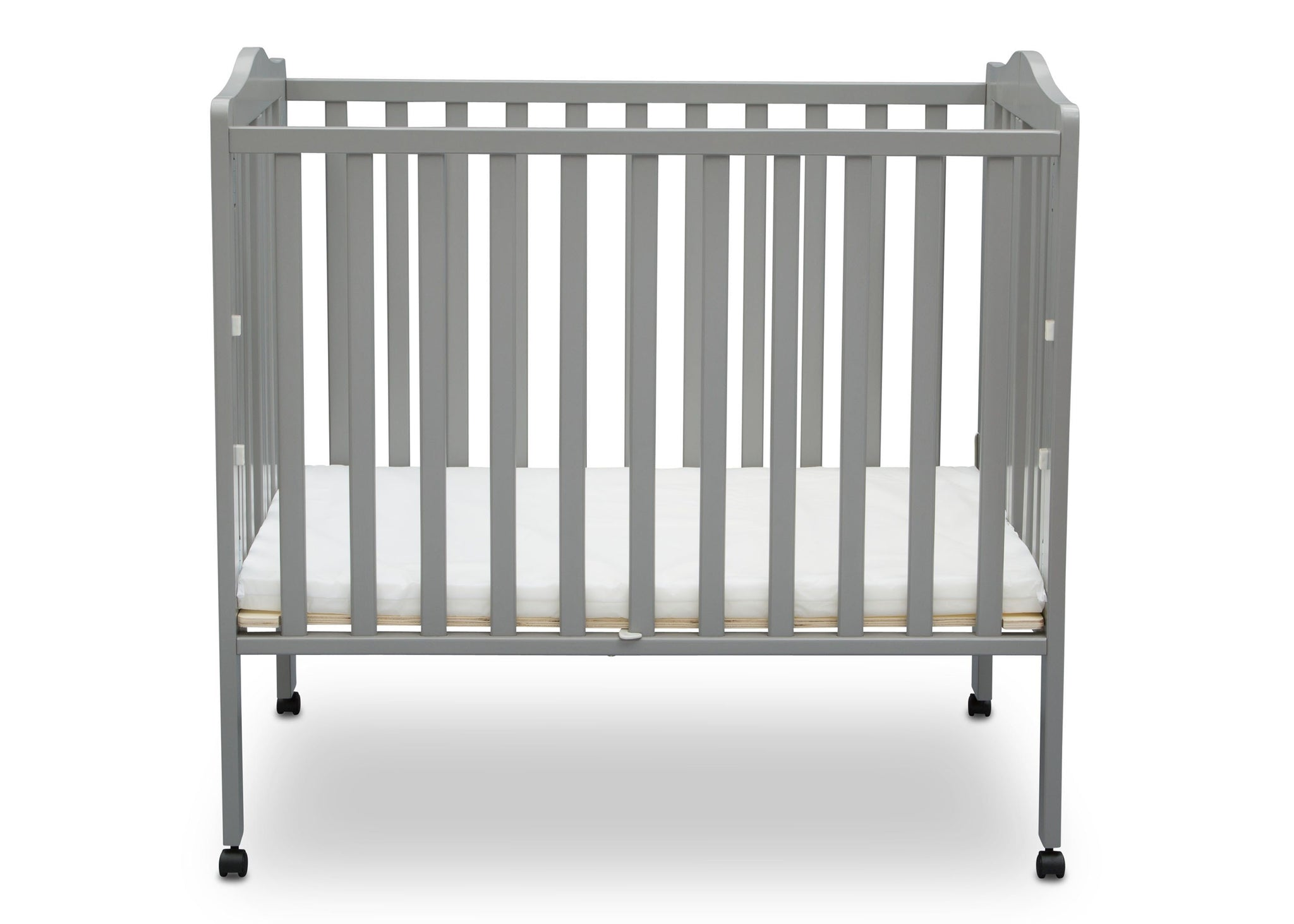 Delta Children Grey (026) Portable Crib, Front View 1 d2d