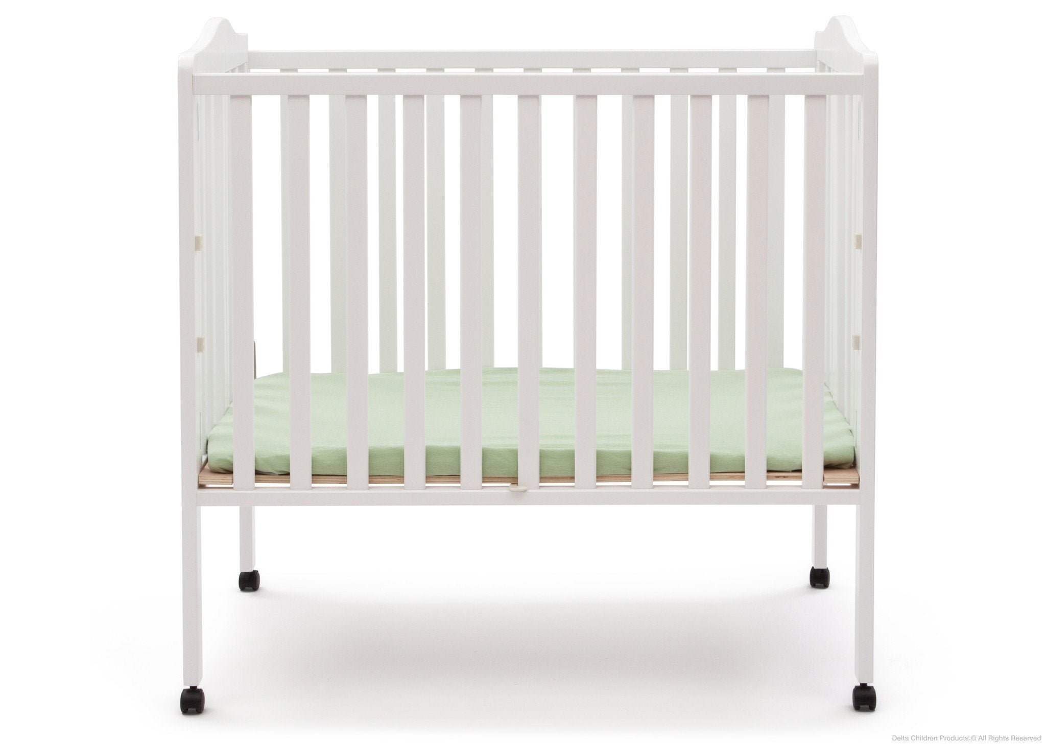 Delta Children White (100) Portable Crib, Front View a1a