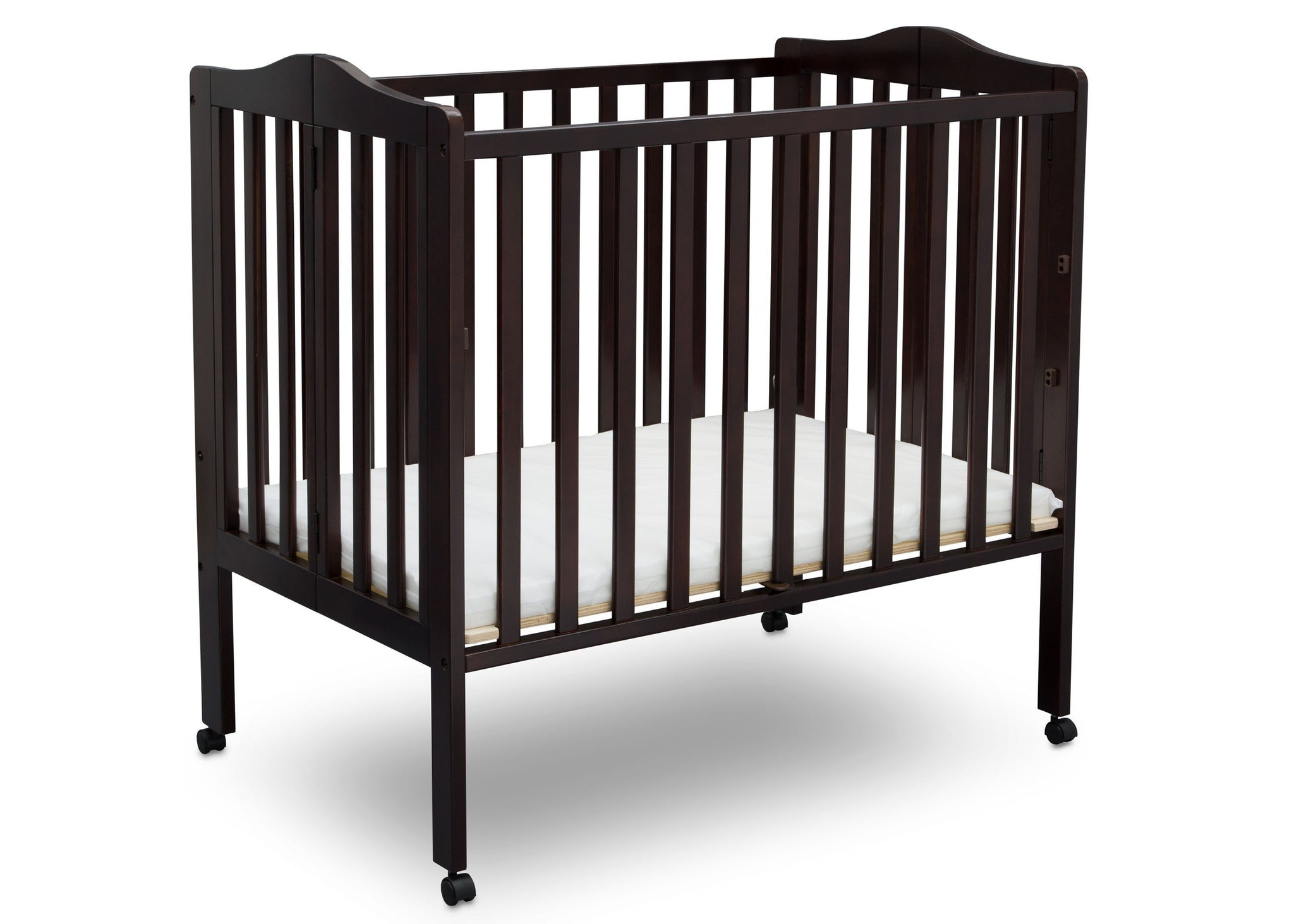 Delta Children Dark Chocolate (207) Portable Crib, Angle View 1 e4e