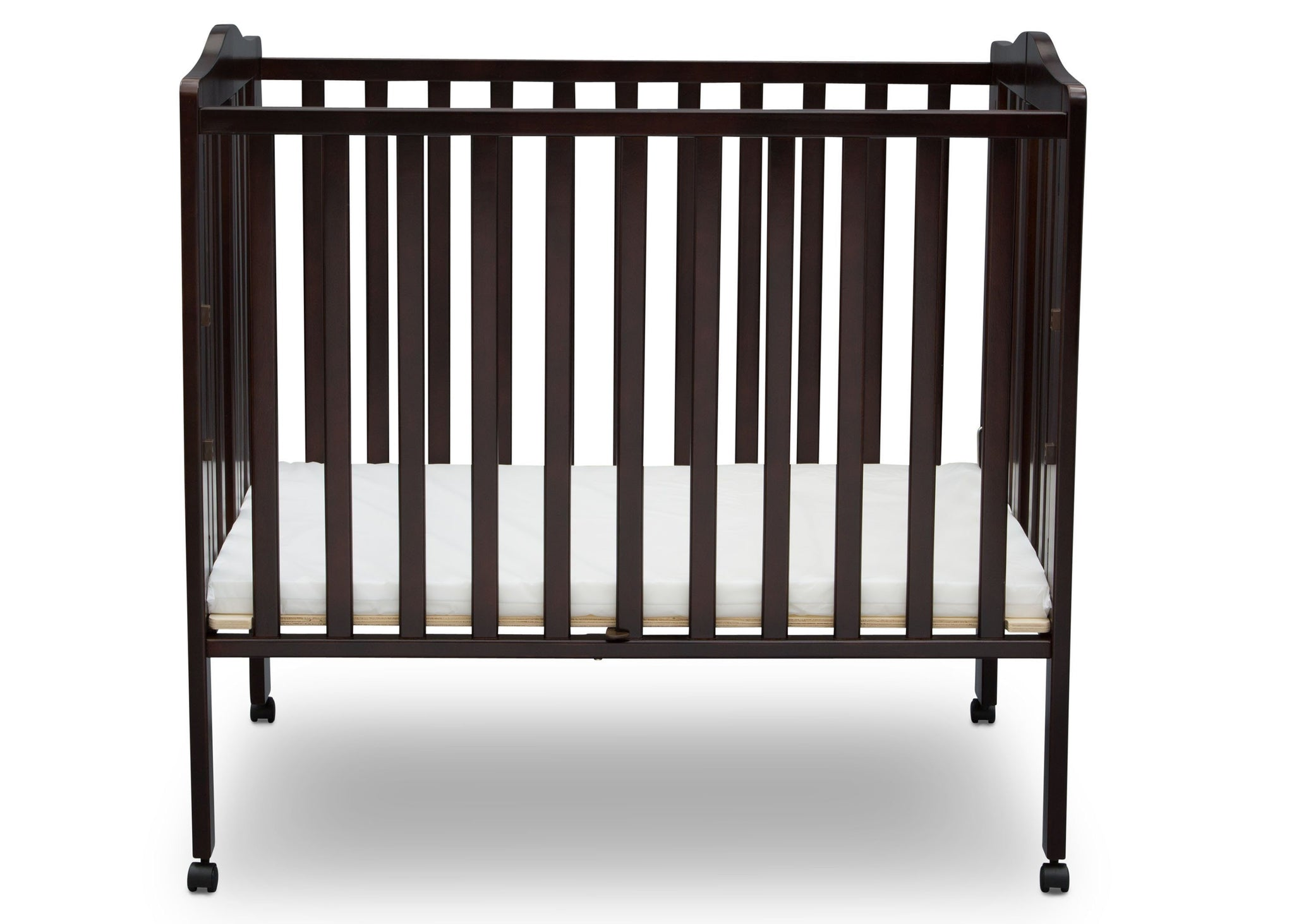 Delta Children Dark Chocolate (207) Portable Crib, Front View 1 e2e