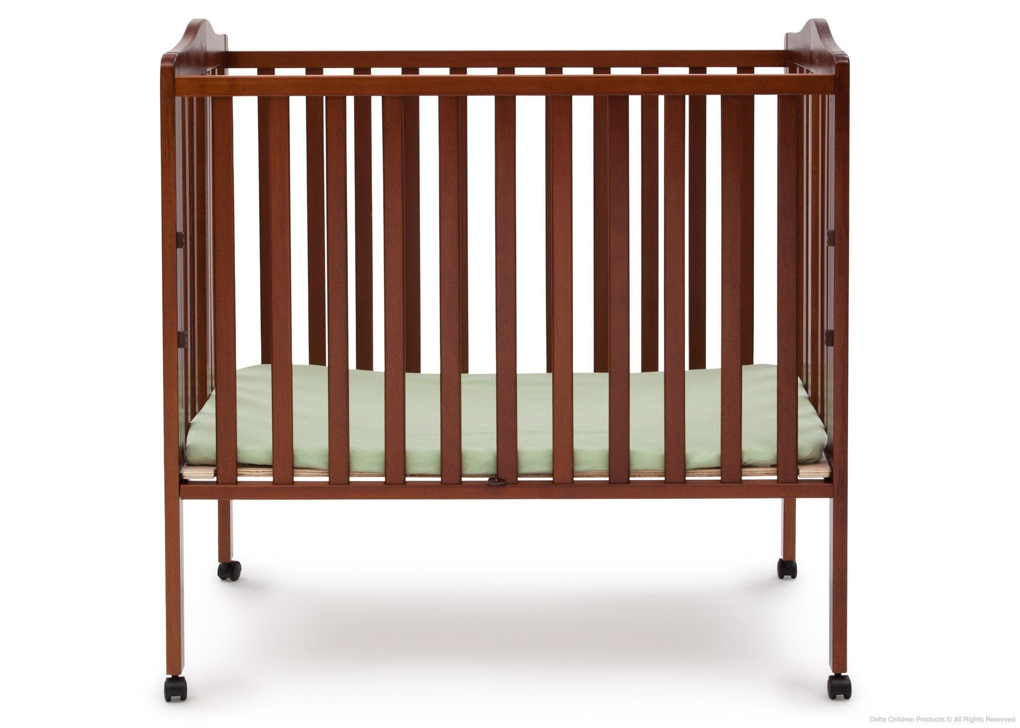 Delta Children Dark Cherry (604) Portable Crib, Option 1 with Side View c1c