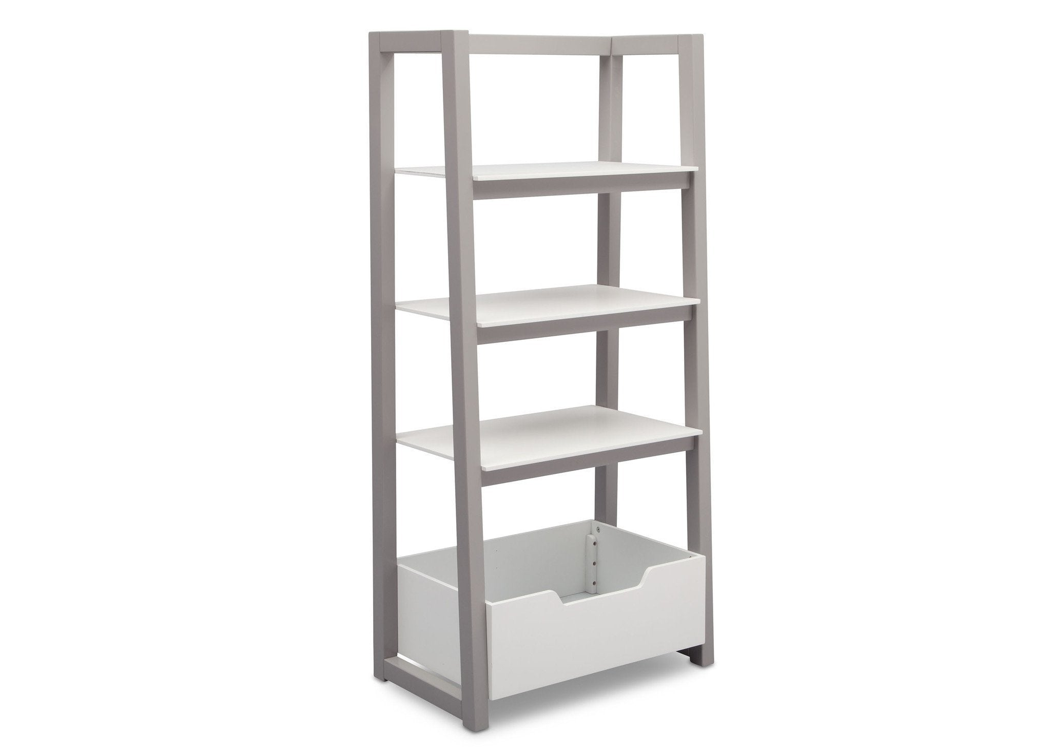 Delta Children Bianca White with Grey (166) Gateway Ladder Shelf, Angled View a3a