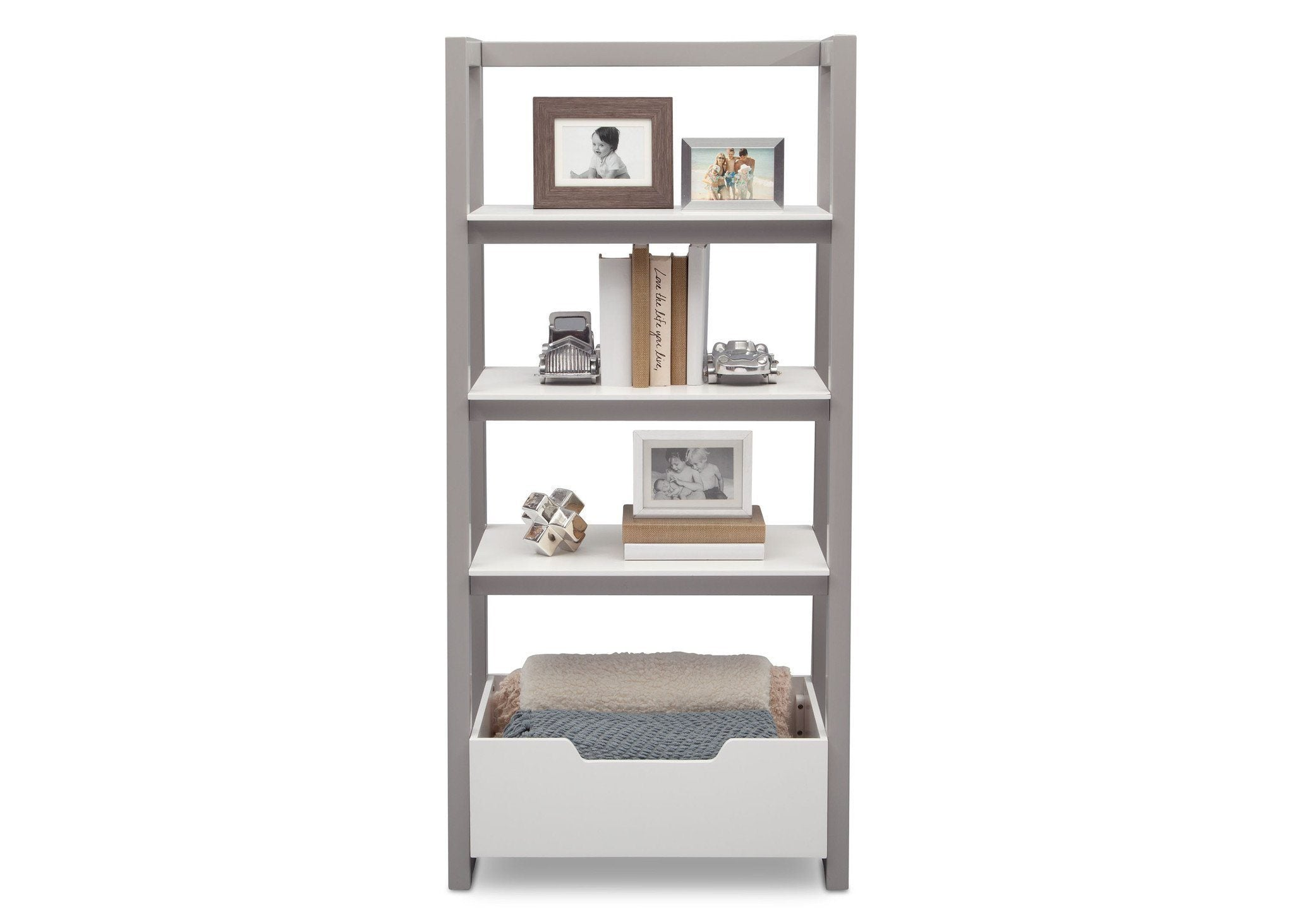 Delta Children Bianca White with Grey (166) Gateway Ladder Shelf, Front View with Props a6a
