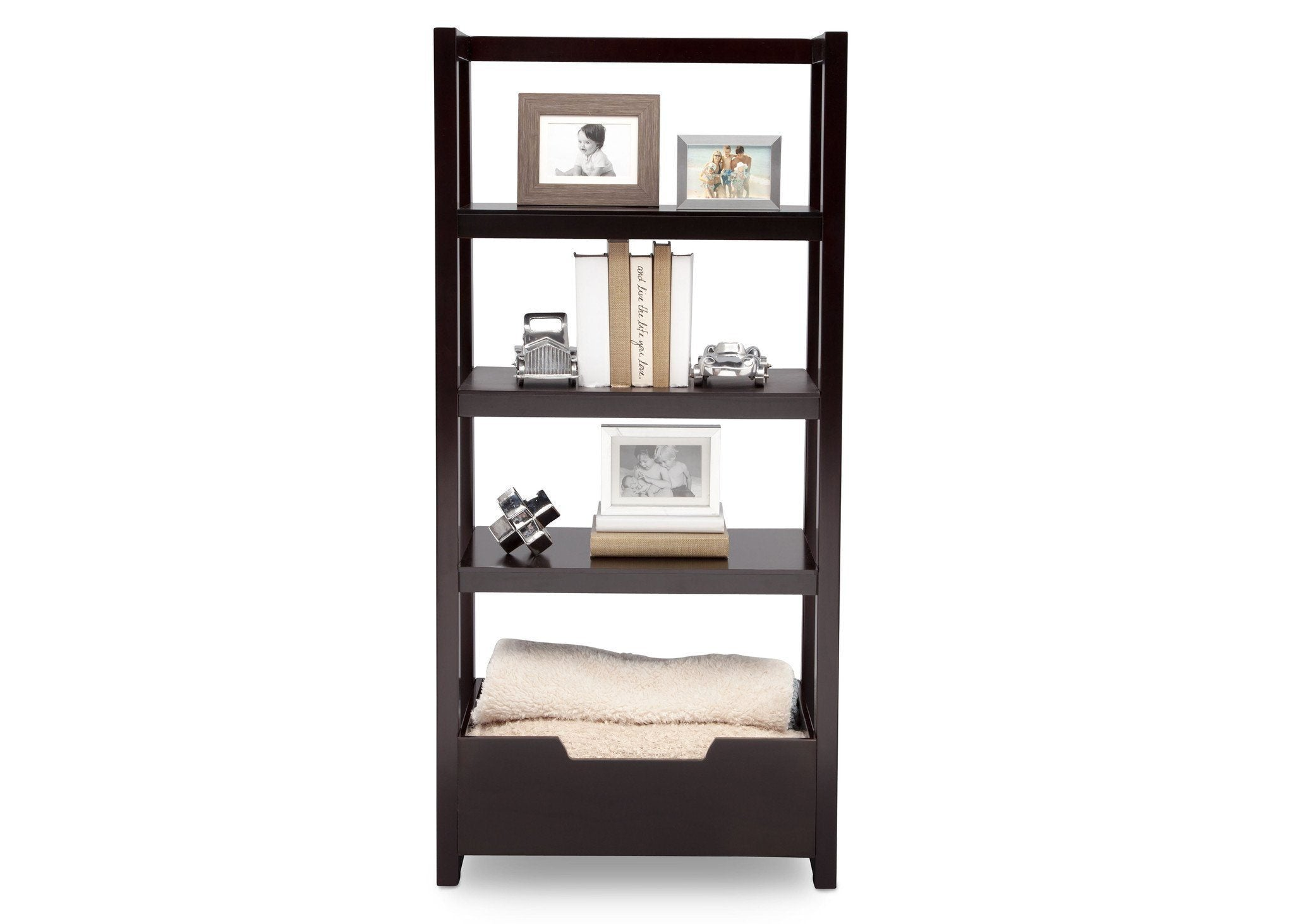 Delta Children Dark Chocolate (207) Gateway Ladder Shelf, Front View with Props b6b