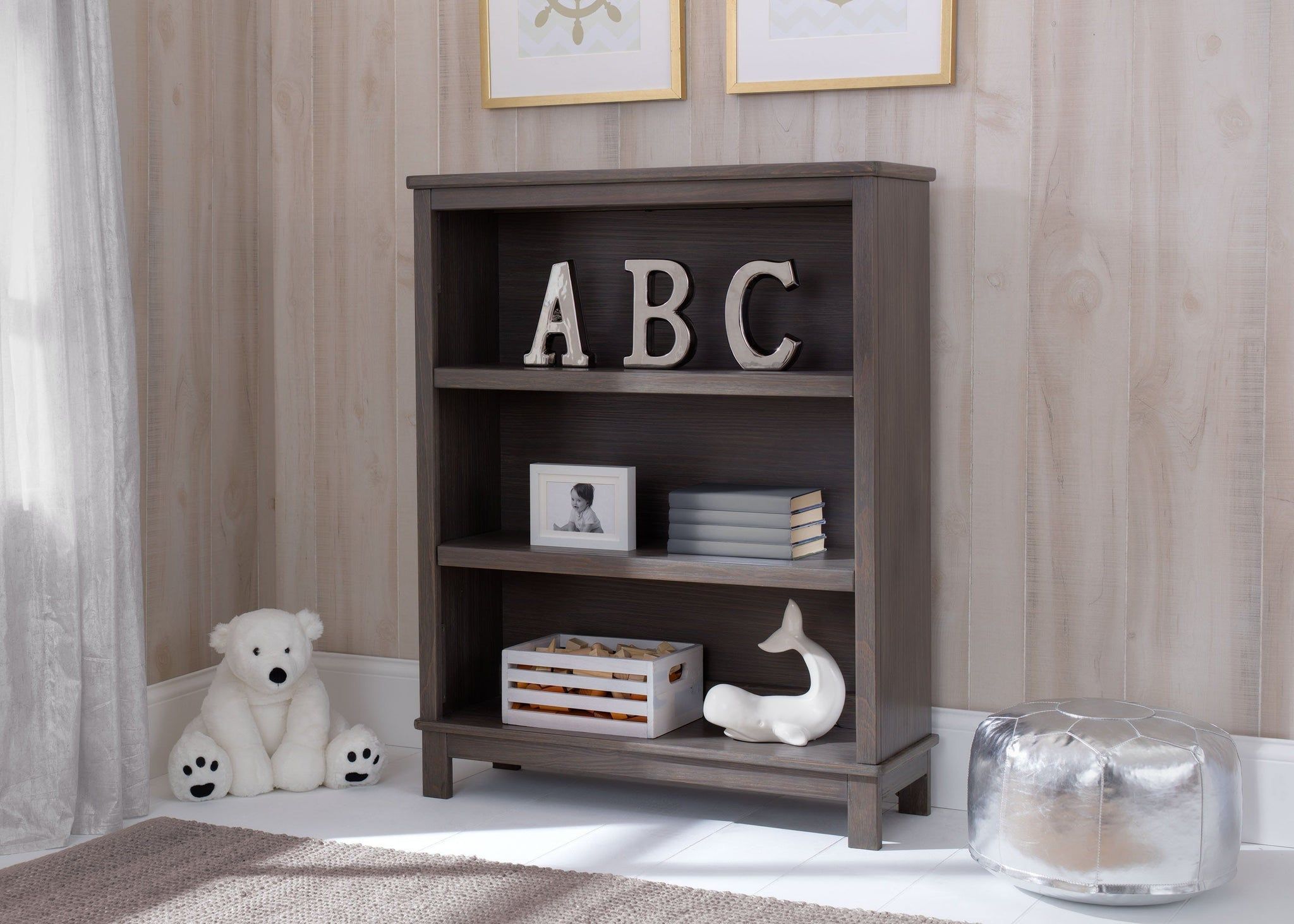 Delta Children Rustic Grey (084) Cambridge Bookcase/Hutch, hangtag, a1a