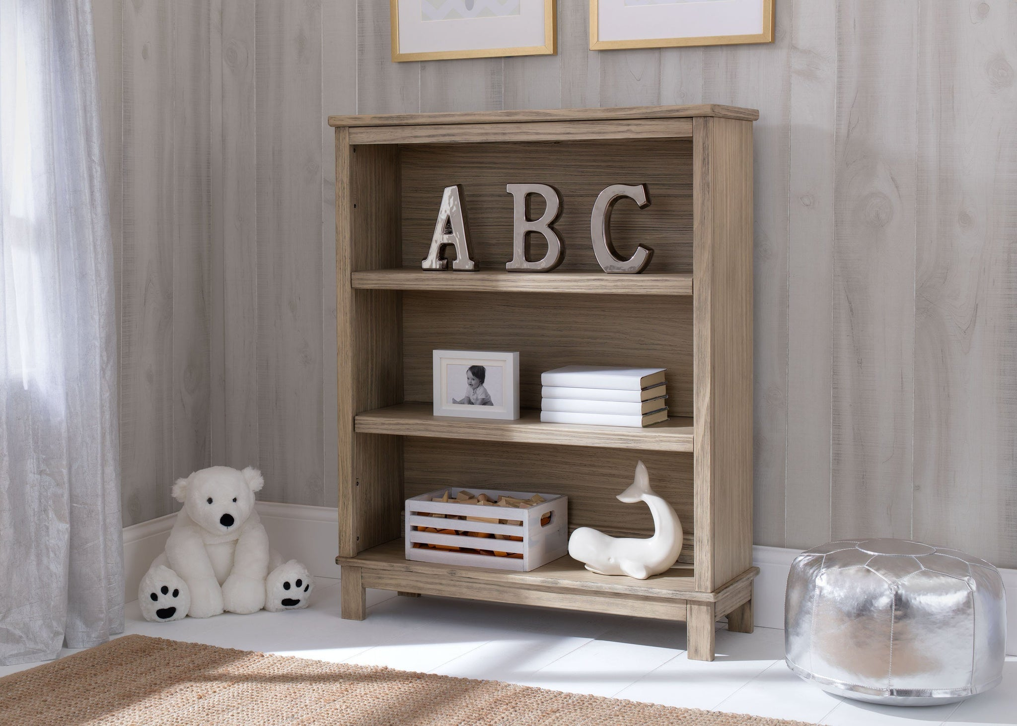 Delta Children Rustic Driftwood (112) Cambridge Bookcase/Hutch, hangtag, b1b