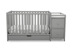 Delta Children Grey (026) Luna Convertible Crib N Changer with Under Drawer (536160), Silo Front, a2a