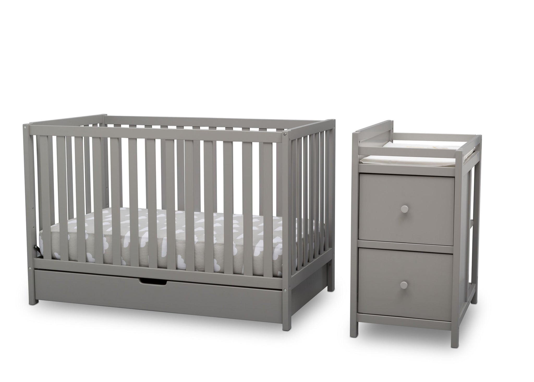 Delta Children Grey (026) Luna Convertible Crib N Changer with Under Drawer (536160), Silo Detached, a3a