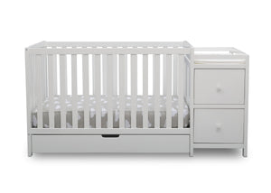 Delta Children Bianca White (130) Luna Convertible Crib N Changer with Under Drawer (536160), Silo Crib, b2b