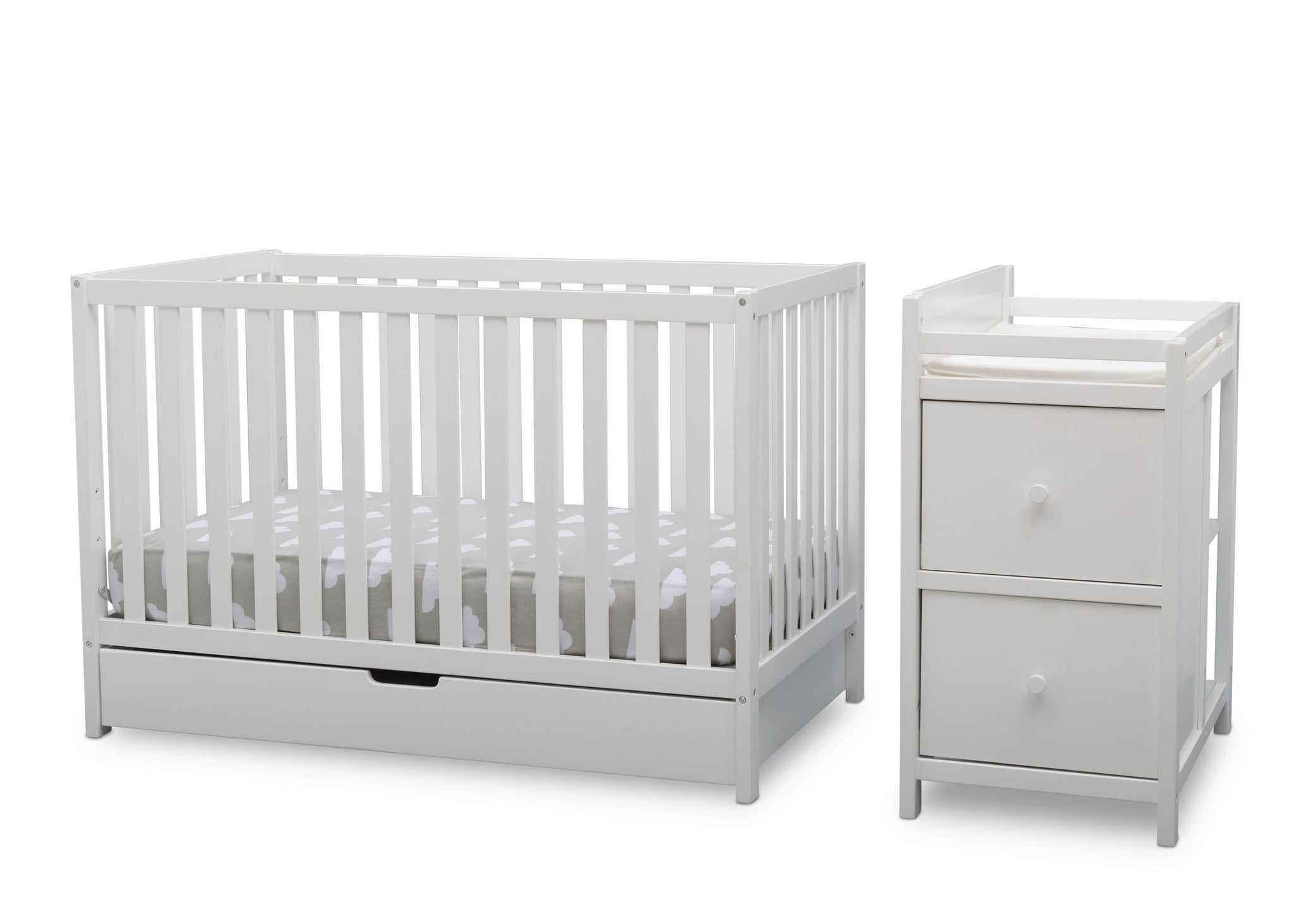 Delta Children Bianca White (130) Luna Convertible Crib N Changer with Under Drawer (536160), Silo Detached, b2b