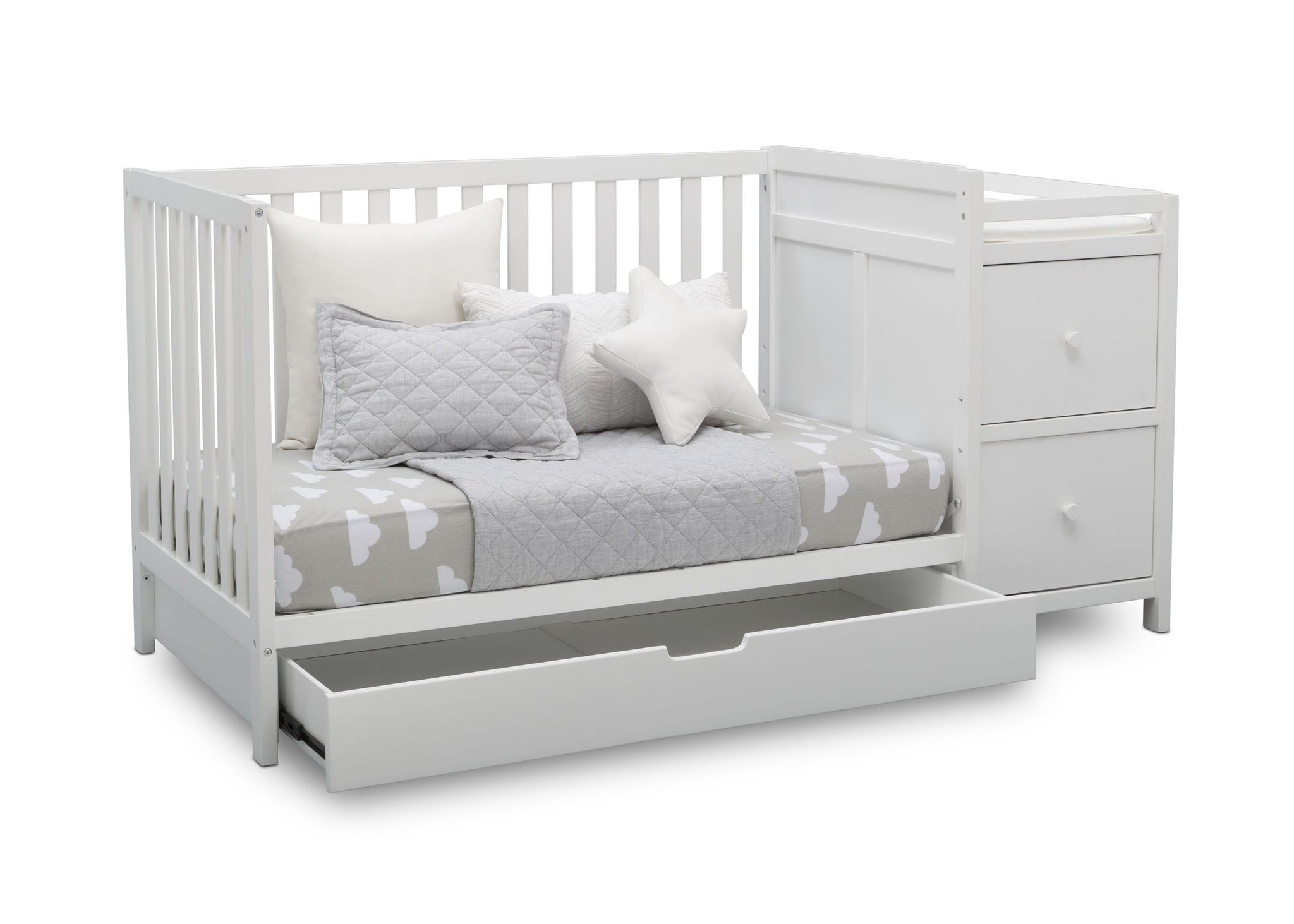 Delta Children Bianca White (130) Luna Convertible Crib N Changer with Under Drawer (536160), Silo Daybed, b3b