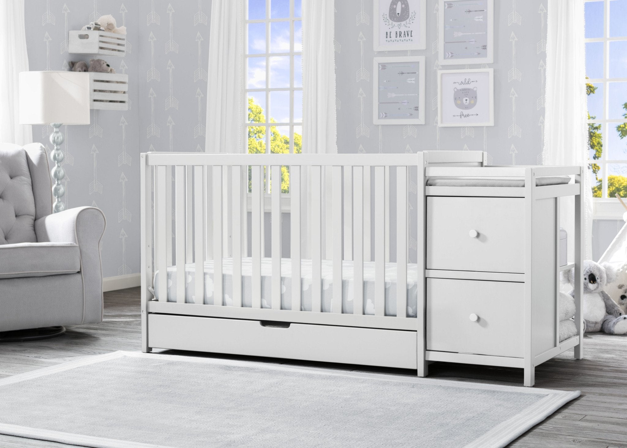 Luna Convertible Crib N Changer with Under Drawer Bianca White (130)
