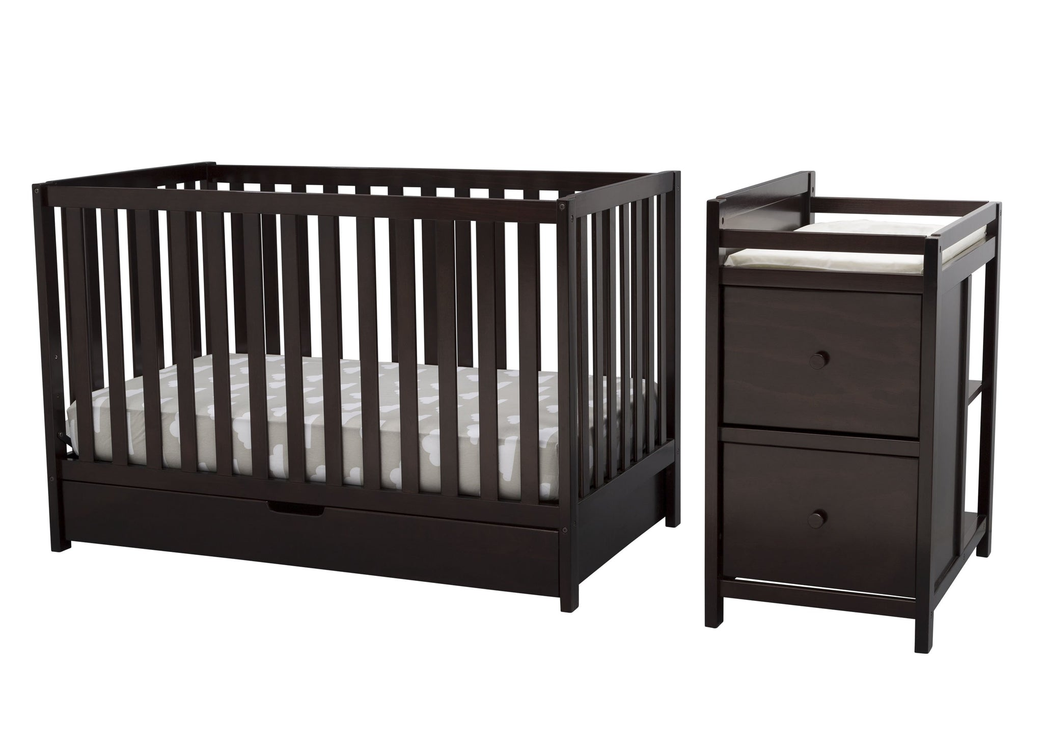 Delta Children Dark Chocolate (207) Luna Convertible Crib N with Under Drawer (536160), Silo Detached, c3c