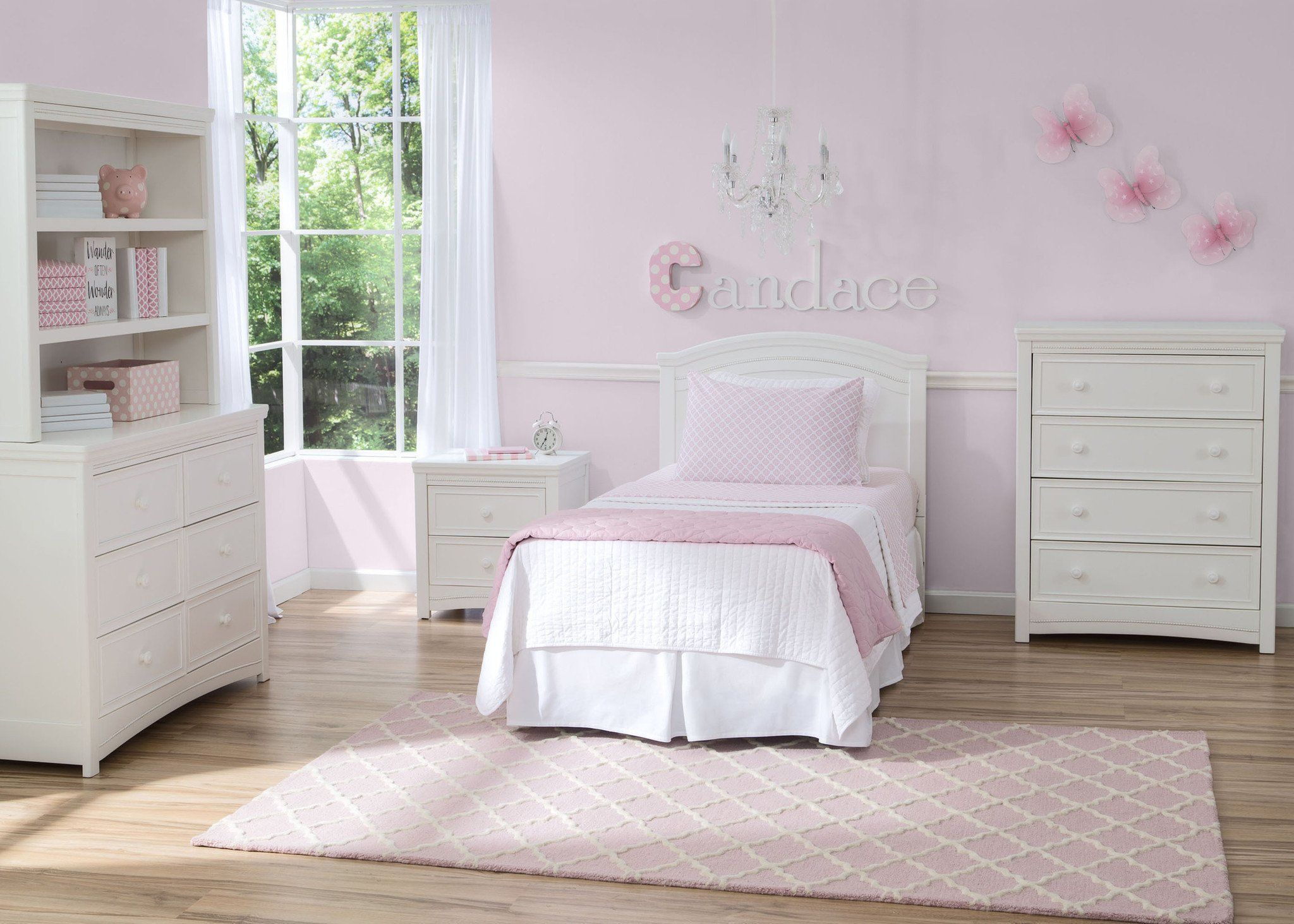 Delta Children White Ambiance (108) Lindsey Twin HeadBoard, Room View, a1a