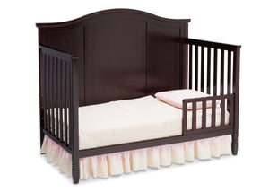 Delta Children Dark Chocolate (207) Maverick 4-in-1 Crib, angled conversion to toddler bed, a4a