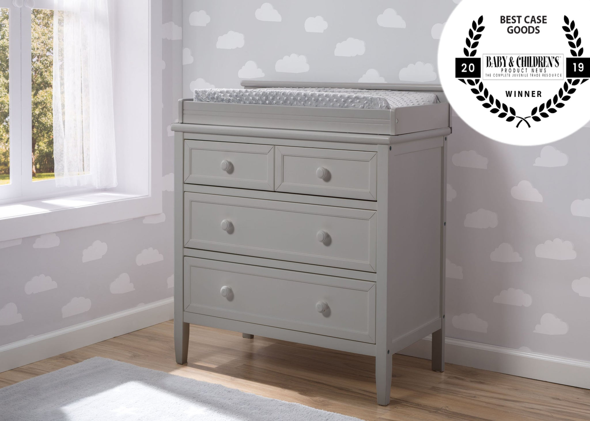 Delta Children Epic Signature 3 Drawer Dresser with Changing Top, Right View Grey (026) a0a