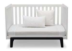 Delta Children Bianca White with Ebony (149) Aster 3-in-1 Crib, Daybed Conversion