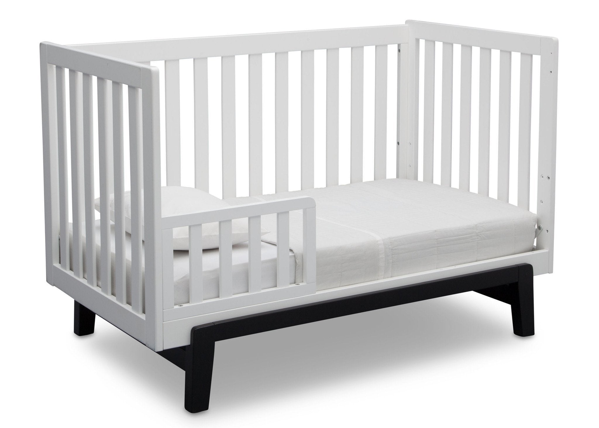Delta Children Bianca White with Ebony (149) Aster 3-in-1 Crib, Toddler Bed Conversion a5a