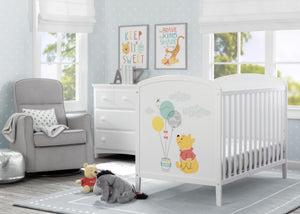 Delta Children Bianca White with Pooh (1301) Disney Winnie The Pooh 3-in-1 Convertible Baby Crib by Delta Children, Room View a1a