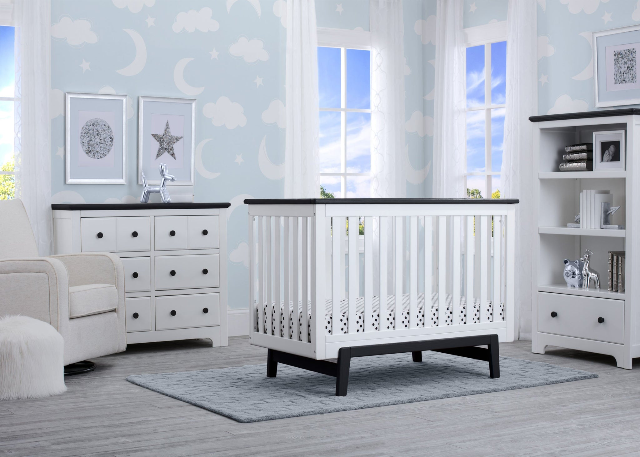 Delta Children Bianca with Rustic Ebony (135) Providence Classic 4-in-1 Convertible Crib (548650), Room, a1a