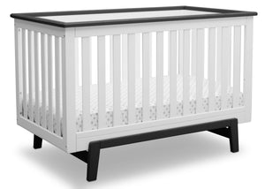 Delta Children Bianca with Rustic Ebony (135) Providence Classic 4-in-1 Convertible Crib (548650), Right Angle, a3a