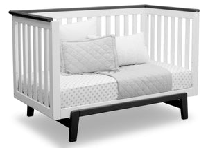 Delta Children Bianca with Rustic Ebony (135) Providence Classic 4-in-1 Convertible Crib (548650), Day Bed, a5a