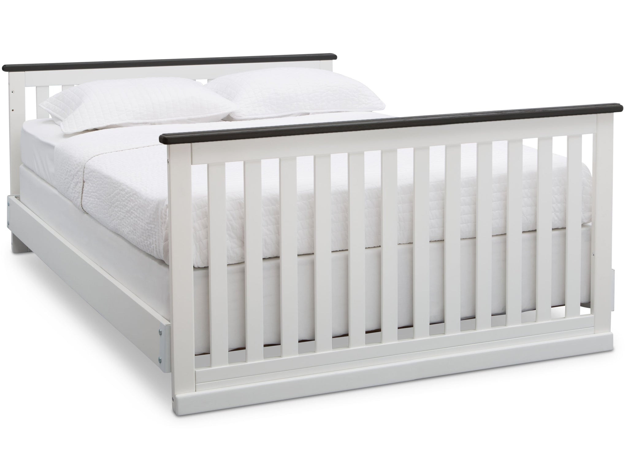 Delta Children Bianca with Rustic Ebony (135) Providence Classic 4-in-1 Convertible Crib (548650), Full Size Bed, a6a
