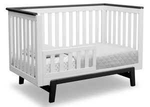 Delta Children Bianca with Rustic Ebony (135) Providence Classic 4-in-1 Convertible Crib (548650), Toddler Bed, a4a