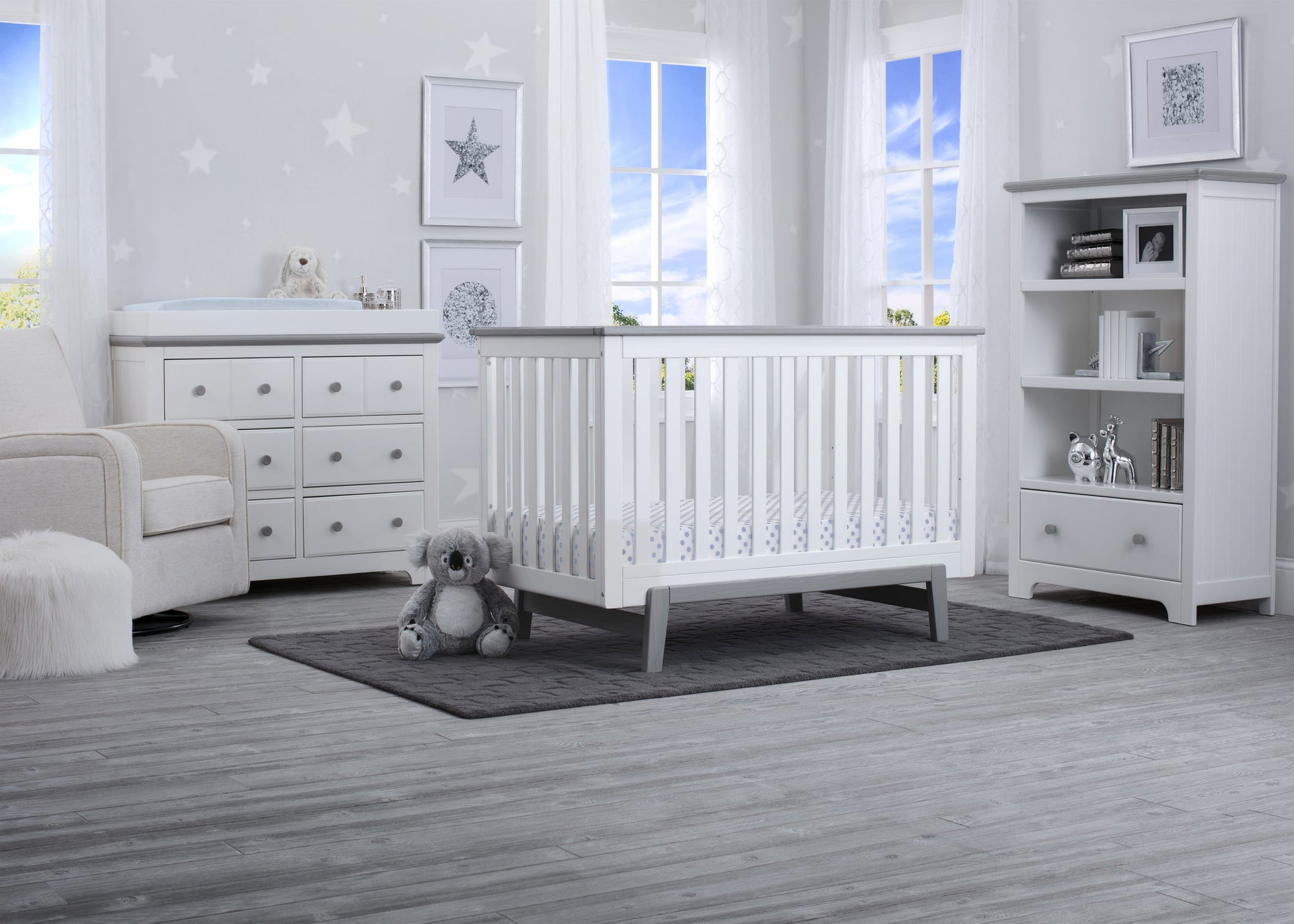 Delta Children Bianca with Rustic Haze (136) Providence Classic 4-in-1 Convertible Crib (548650), Room, b1b