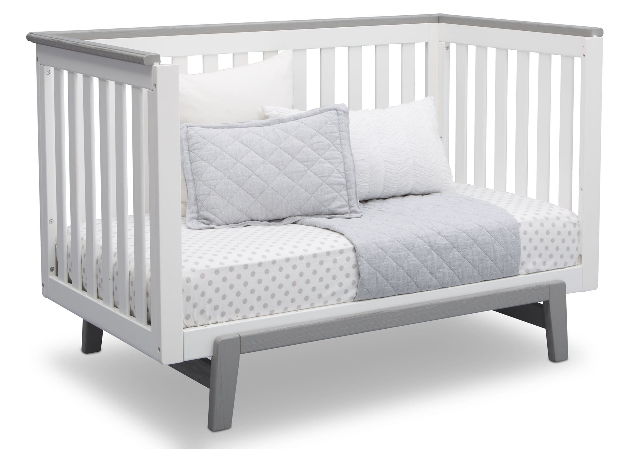 Delta Children Bianca with Rustic Haze (136) Providence Classic 4-in-1 Convertible Crib (548650), Day Bed, b5b
