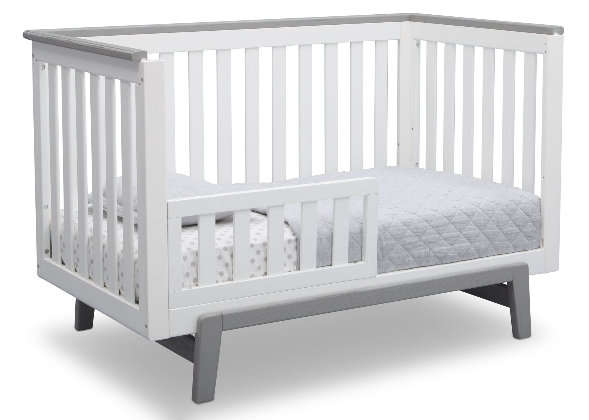 Delta Children Bianca with Rustic Haze (136) Providence Classic 4-in-1 Convertible Crib (548650), Toddler Bed, b4b