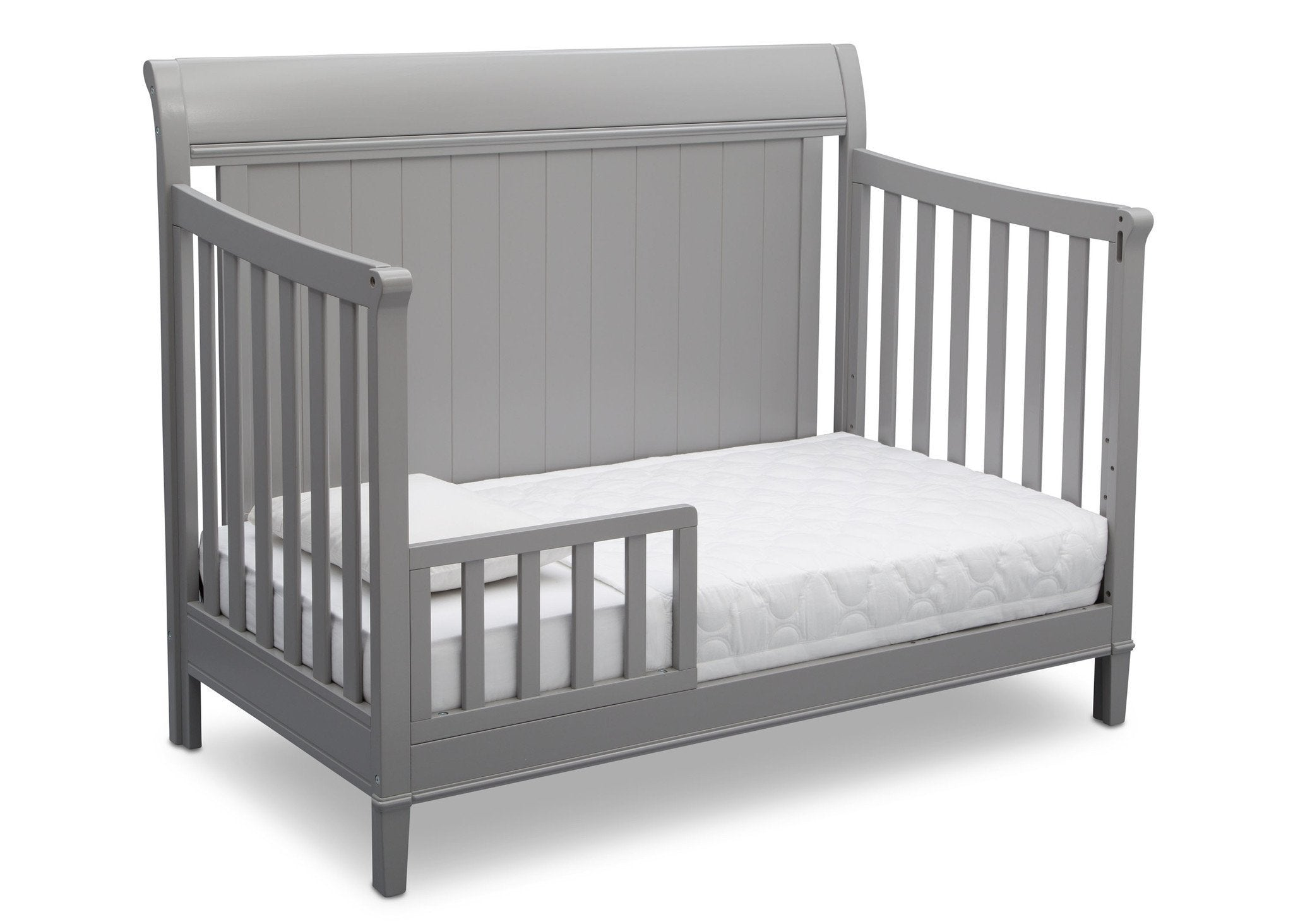 Delta Children Grey (026) New Haven 4-in-1 Crib, Angled Conversion to Toddler Bed, b4b