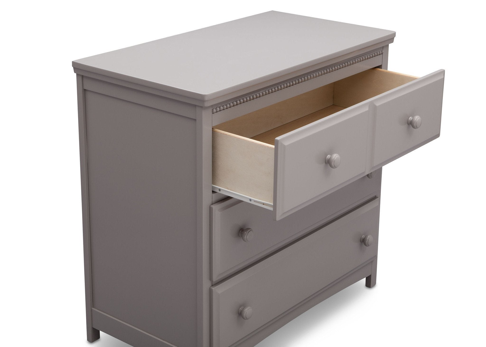 Delta Children Grey (026) Emerson 3 Drawer Dresser with Changing Top, Drawer Detail a4a