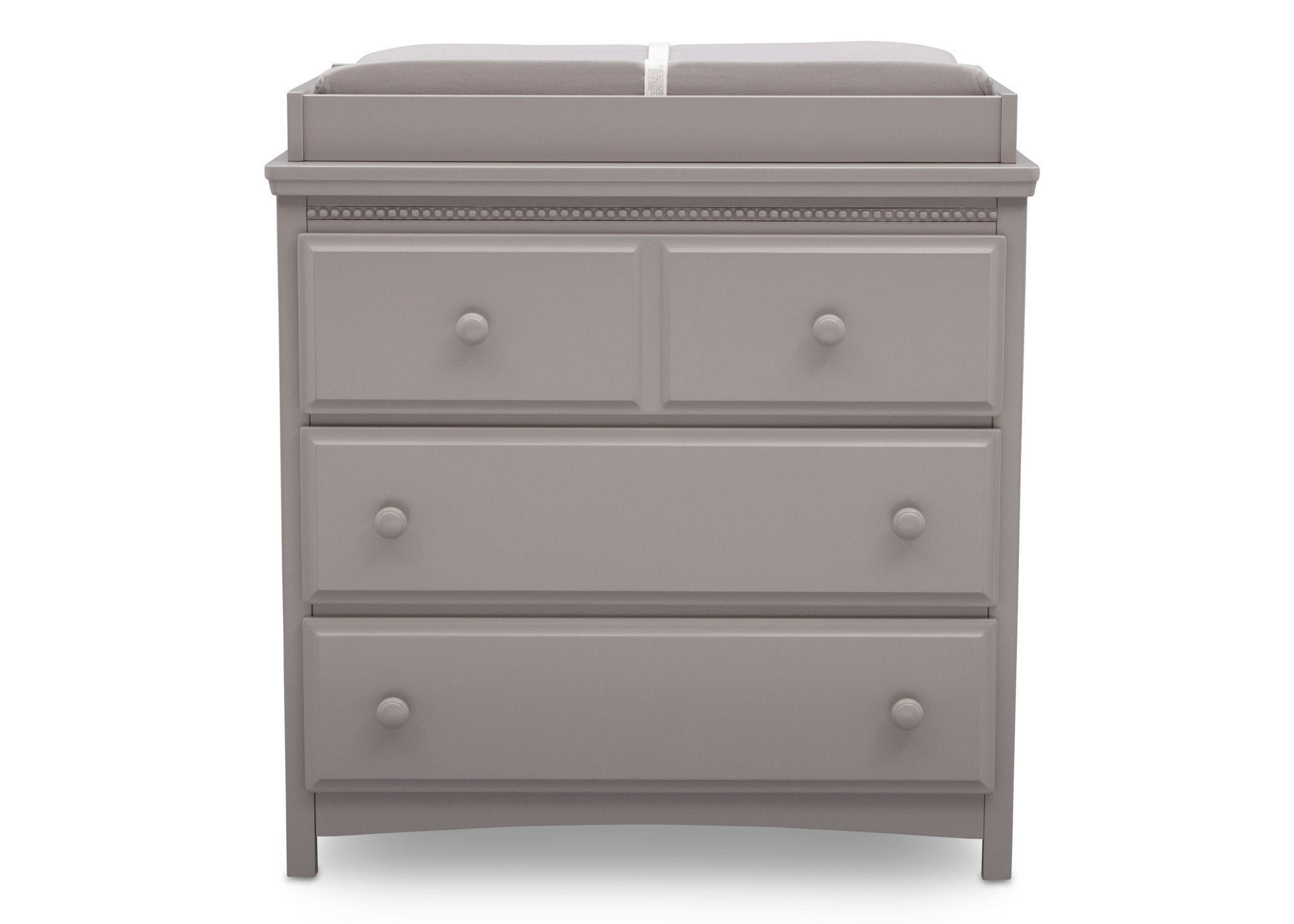 Delta Children Grey (026) Emerson 3 Drawer Dresser with Changing Top, Front View a2a