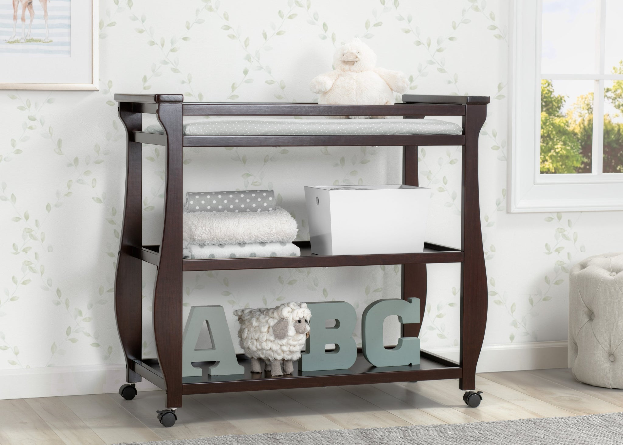 Delta Children Dark Chocolate (207) Lancaster Changing Table (552010), Hangtag, c1c
