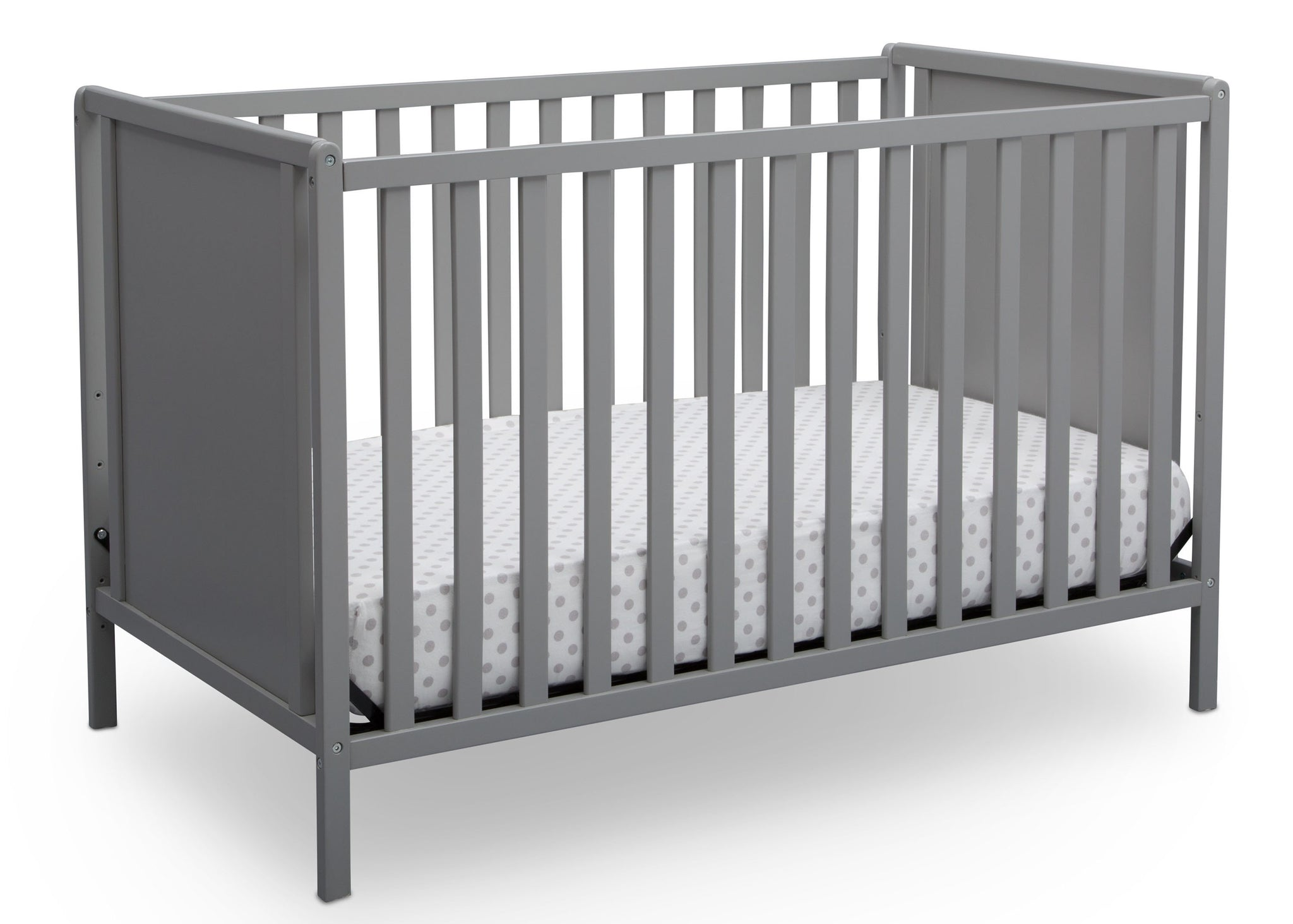 Delta Children Grey (026) Heartland Classic 4-in-1 Convertible Crib, Crib Angle, a3a